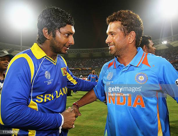 Kumar Sangakkara of Sri Lanka congratulates Sachin Tendulkar of India on his teams win during the 2011 ICC World Cup Final between India and Sri...
