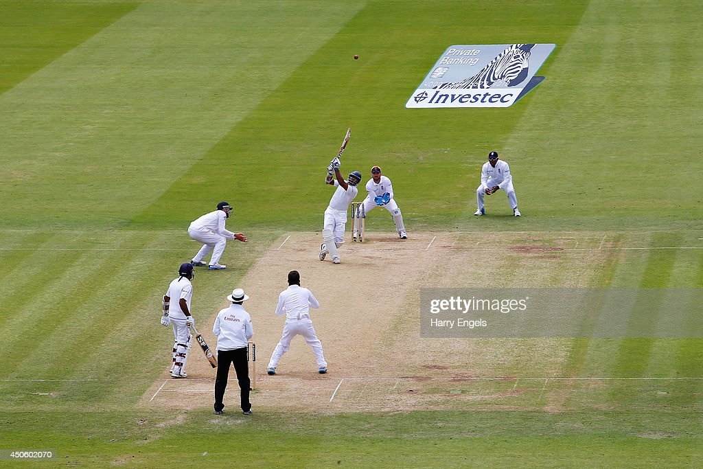 <a gi-track='captionPersonalityLinkClicked' href=/galleries/search?phrase=Kumar+Sangakkara&family=editorial&specificpeople=206804 ng-click='$event.stopPropagation()'>Kumar Sangakkara</a> of Sri Lanka hits out during day three of the 1st Investec Test match between England and Sri Lanka at Lord's Cricket Ground on June 14, 2014 in London, England.