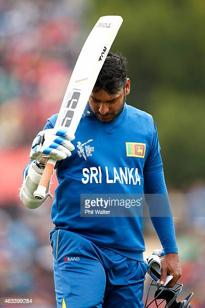 Kumar Sangakkara of Sri Lanka leaves the field dismissed LBW by Trent Boult of New Zealand during the 2015 ICC Cricket World Cup match between Sri...