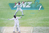 Kumar Sangakkara of Sri Lanka loses his bat during day two of the First Test match between New Zealand and Sri Lanka at Hagley Oval on December 27...