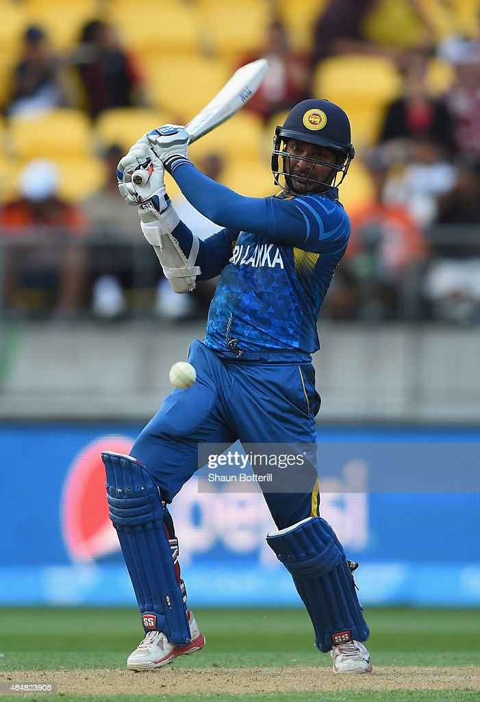 <a gi-track='captionPersonalityLinkClicked' href=/galleries/search?phrase=Kumar+Sangakkara&family=editorial&specificpeople=206804 ng-click='$event.stopPropagation()'>Kumar Sangakkara</a> of Sri Lanka plays a shot during the 2015 ICC Cricket World Cup match between England and Sri Lanka at Wellington Regional Stadium on March 1, 2015 in Wellington, New Zealand.