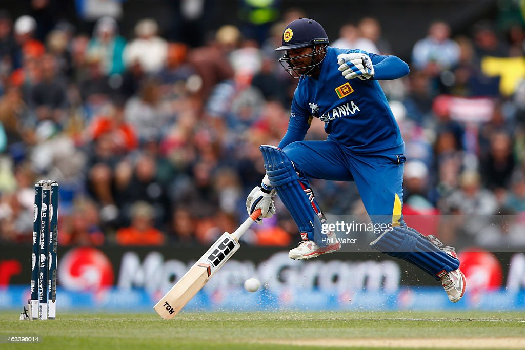 <a gi-track='captionPersonalityLinkClicked' href=/galleries/search?phrase=Kumar+Sangakkara&family=editorial&specificpeople=206804 ng-click='$event.stopPropagation()'>Kumar Sangakkara</a> of Sri Lanka runs into make his crease during the 2015 ICC Cricket World Cup match between Sri Lanka and New Zealand at Hagley Oval on February 14, 2015 in Christchurch, New Zealand.