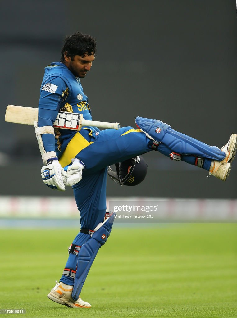 <a gi-track='captionPersonalityLinkClicked' href=/galleries/search?phrase=Kumar+Sangakkara&family=editorial&specificpeople=206804 ng-click='$event.stopPropagation()'>Kumar Sangakkara</a> of Sri Lanka shows his frustration, after he was caught by Suresh Raina of Inida off the bowling of Ishant Sharma during the ICC Champions Trophy Semi Final match between India and Sri Lanka at SWALEC Stadium on June 20, 2013 in Cardiff, Wales.