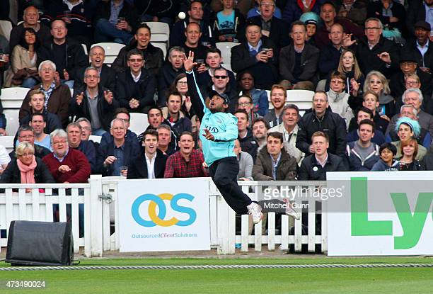 Kumar Sangakkara of Surrey attempts to catch the ball during the NatWest T20 blast match between Surrey and Glamorgan at the Kia Oval Cricket Ground...