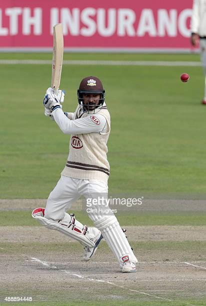 Kumar Sangakkara of Surrey bats during day three of the LV County Championship Division Two match between Lancashire and Surrey at Emirates Old...