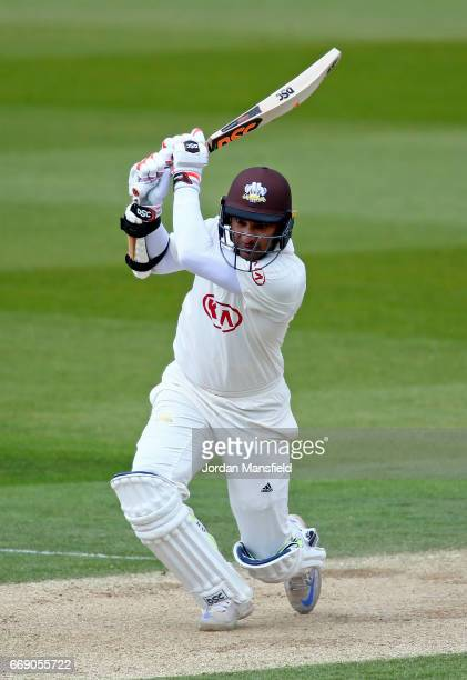 Kumar Sangakkara of Surrey bats during day three of the Specsavers County Championship Division One match between Surrey and Lancashire at The Kia...