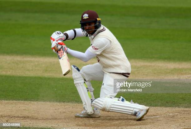 Kumar Sangakkara of Surrey bats during day three of the Specsavers County Championship Division One match between Surrey and Somerset at The Kia Oval...