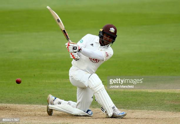 Kumar Sangakkara of Surrey bats during day two of the Specsavers County Championship Division One match between Surrey and Somerset at The Kia Oval...
