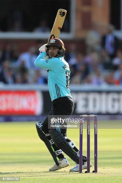 Kumar Sangakkara of Surrey bats during the NatWest T20 Blast match between Middlesex and Surrey at Lord's Cricket Ground on July 13 2017 in London...