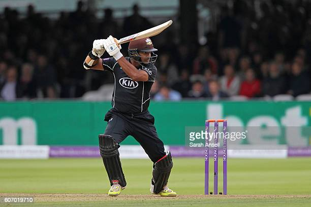 Kumar Sangakkara of Surrey bats during the Royal London OneDay Cup Final match between Surrey and Warwickshire at Lord's Cricket Ground on September...