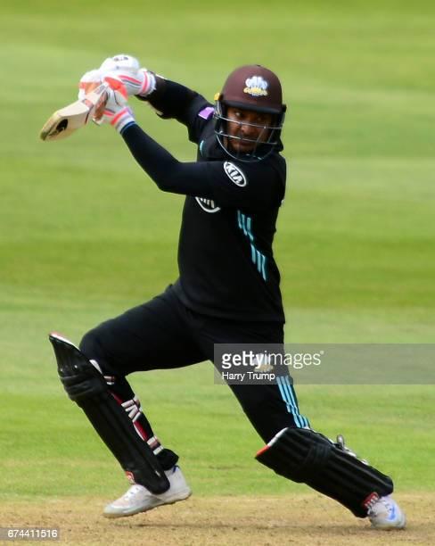 Kumar Sangakkara of Surrey bats during the Royal London OneDay Cup between Somerset and Surrey at The Cooper Associates County Ground on April 28...