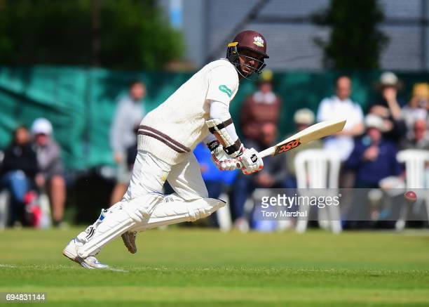 Kumar Sangakkara of Surrey bats during the Specsavers County Championship Division One match between Surrey and Essex at Guildford Cricket Club on...