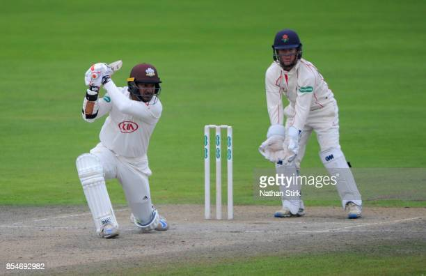 Kumar Sangakkara of Surrey batting during the County Championship Division One match between Lancashire and Surrey at Old Trafford on September 27...