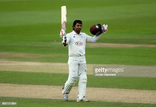 Kumar Sangakkara of Surrey celebrates his century during day two of the Specsavers County Championship Division One match between Surrey and Somerset...