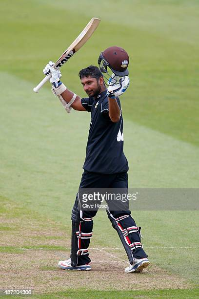 Kumar Sangakkara of Surrey celebrates his century during the Royal London OneDay Cup Semi Final between Surrey and Nottinghamshire at The Kia Oval on...