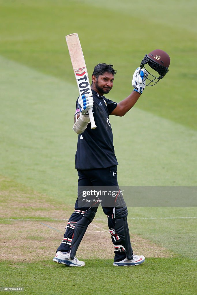 <a gi-track='captionPersonalityLinkClicked' href=/galleries/search?phrase=Kumar+Sangakkara&family=editorial&specificpeople=206804 ng-click='$event.stopPropagation()'>Kumar Sangakkara</a> of Surrey celebrates his century during the Royal London One-Day Cup Semi Final between Surrey and Nottinghamshire at The Kia Oval on September 7, 2015 in London, England.