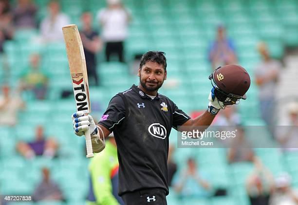 Kumar Sangakkara of Surrey celebrates scoring a century during the Royal London One Day Cup semifinal match between Surrey and Nottinghamshire at the...