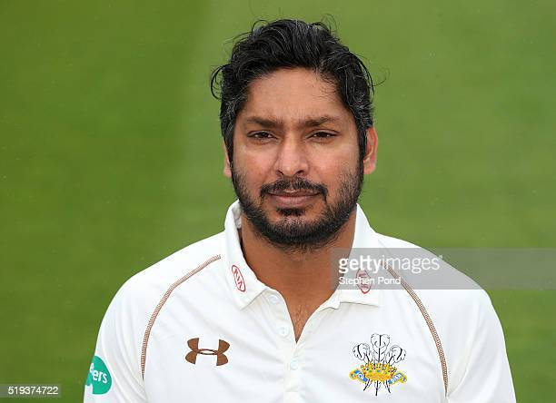 Kumar Sangakkara of Surrey during the Surrey County Cricket Club media day at The Kia Oval on April 6 2016 in London England