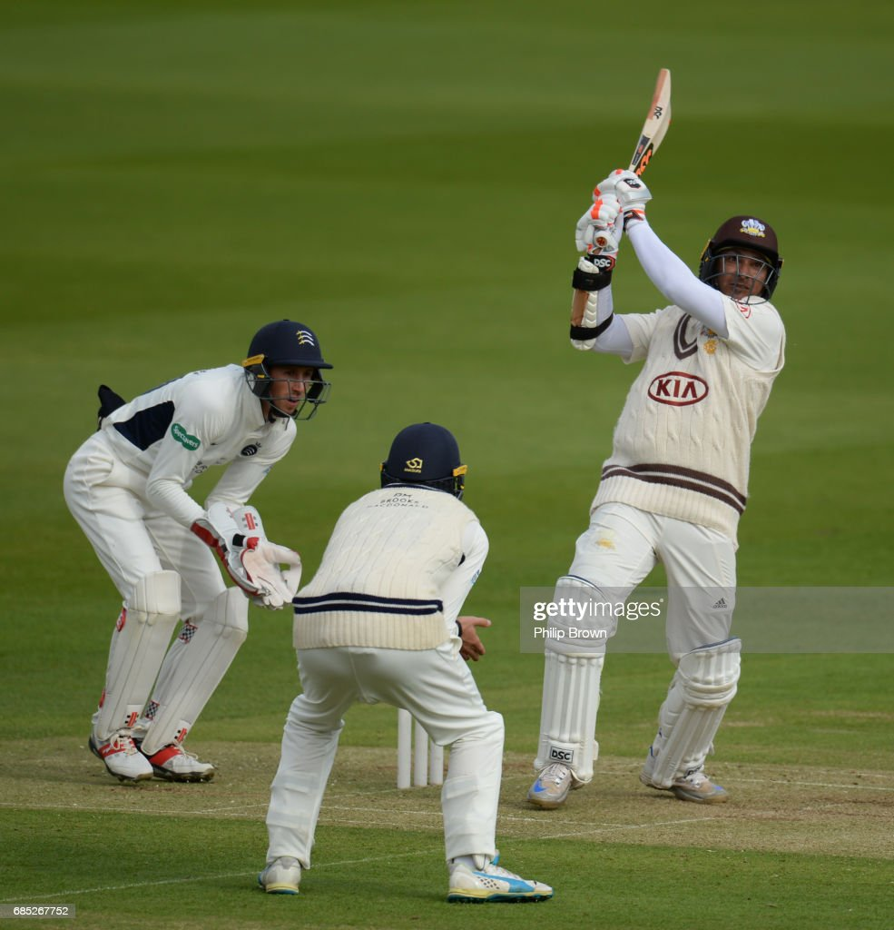 Kumar Sangakkara of Surrey hits a six during day one of the Specsavers County Championship Division One cricket match between Middlesex and Surrey at the Lord's cricket ground on May 19, 2017 in London, England.