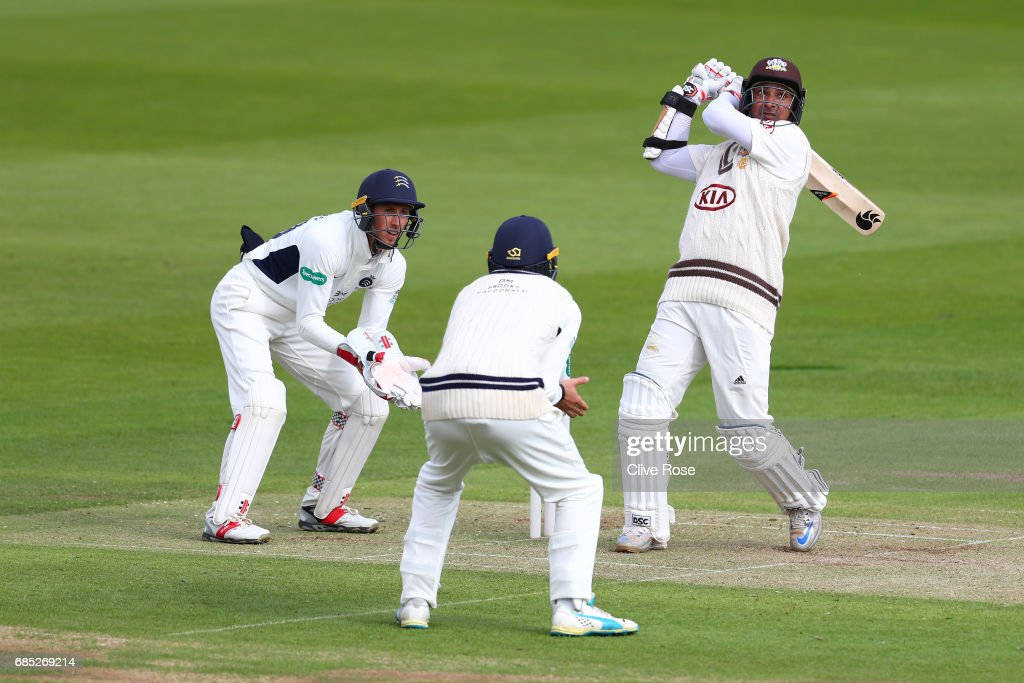 Kumar Sangakkara of Surrey hits a six during the Specsavers County Championship Division One match between Middlesex and Surrey at Lord's Cricket Ground on May 19, 2017 in London, England.