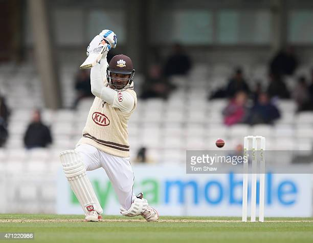 Kumar Sangakkara of Surrey hits out during day 1 of the LV= County Championship division 2 match between Surrey and Essex at The Kia Oval on April 26...