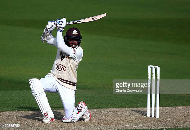 Kumar Sangakkara of Surrey hits out during day one of the LV County Championship Divison Two match between Surrey v Leicestershire at The Kia Oval on...