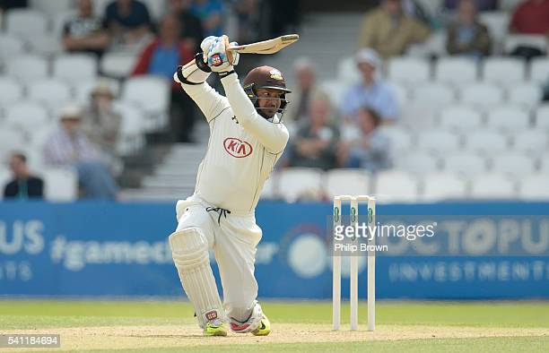 Kumar Sangakkara of Surrey hits out during day one of the Specsavers County Championship Division One match between Surrey and Nottinghamshire at the...