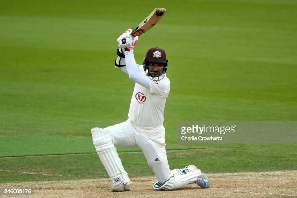 Kumar Sangakkara of Surrey hits out during day one of the Specsavers County Championship Division One match between Surrey and Yorkshire at The Kia...