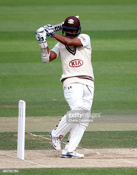 Kumar Sangakkara of Surrey hits out during day three of the LV County Championship match between Surrey and Kent at The Kia Oval on July 15 2015 in...