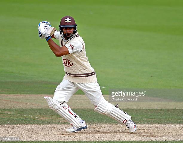 Kumar Sangakkara of Surrey hits out during day two of the LV County Championship match between Surrey and Kent at The Kia Oval on July 14 2015 in...