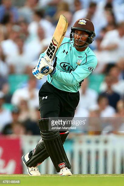 Kumar Sangakkara of Surrey hits out during the Natwest T20 Blast match between Surrey and Gloucestershire at The Oval on July 1 2015 in London England