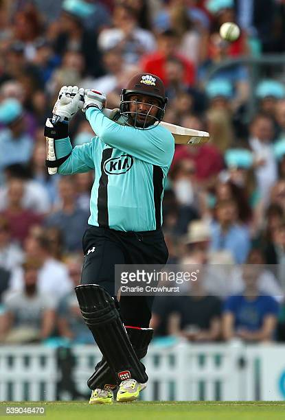 Kumar Sangakkara of Surrey hits out during the NatWest T20 Blast match between Surrey and Hampshire at The Kia Oval on June 9 2016 in London England