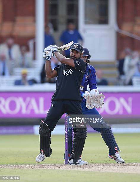 Kumar Sangakkara of Surrey hits out during the Royal London One Day Cup Final between Gloucestershire and Surrey at Lord's Cricket Ground on...