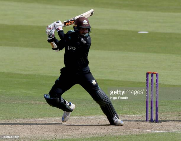Kumar Sangakkara of Surrey hits out during the Royal London OneDay Cup Play Off between Yorkshire Vikings and Surrey at Headingley on June 13 2017 in...