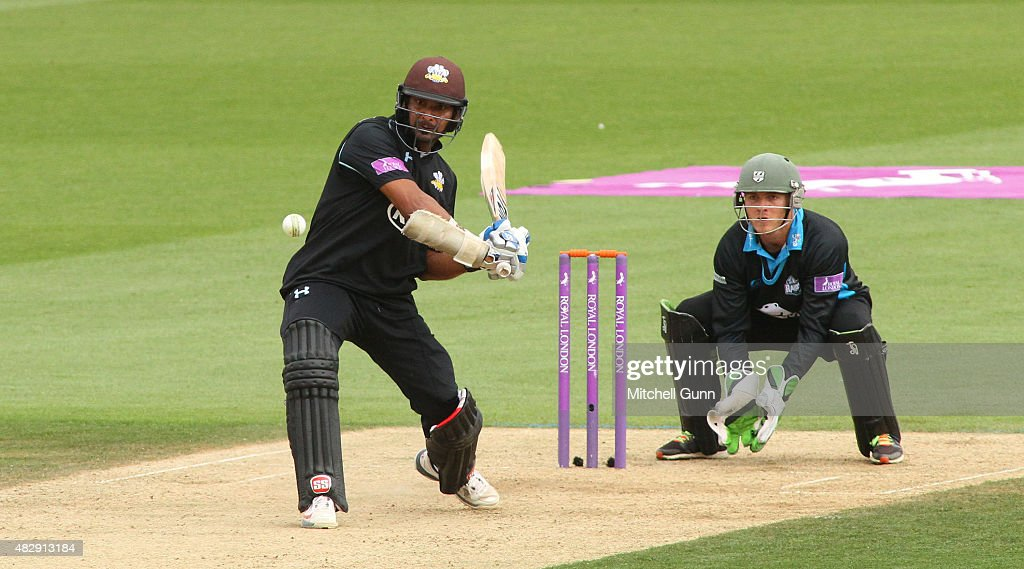 Kumar Sangakkara of Surrey hits the ball for six runs during the Royal London One Day Cup match between Surrey and Worcestershire at the Kia Oval...