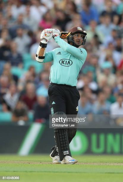 Kumar Sangakkara of Surrey in action during the NatWest T20 Blast match between Surrey and Kent at The Kia Oval on July 14 2017 in London England