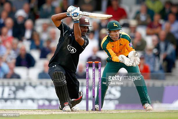 Kumar Sangakkara of Surrey in action during the Royal London OneDay Cup Semi Final between Surrey and Nottinghamshire at The Kia Oval on September 7...