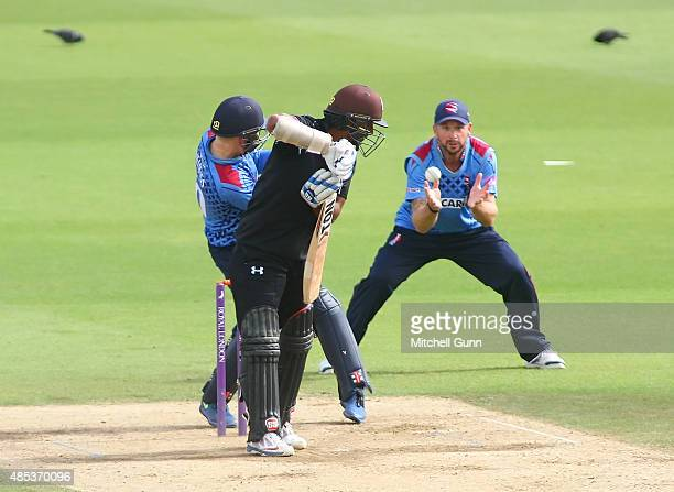 Kumar Sangakkara of Surrey looks back to see Darren Stevens of Kent catch the ball to dismiss him during the Royal London One Day Cup quarter final...