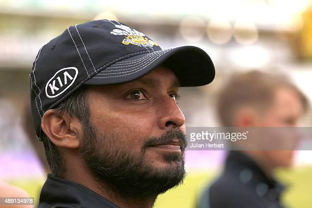 Kumar Sangakkara of Surrey looks on at the trophy presentation after the Royal London OneDay Cup Final between Surrey and Gloustershire at Lord's...