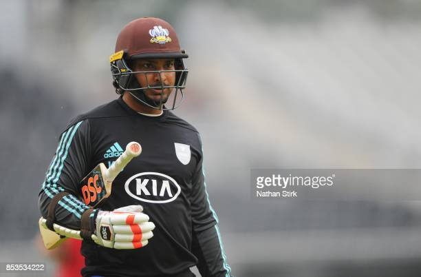 Kumar Sangakkara of Surrey looks on before the County Championship Division One match between Lancashire and Surrey at Old Trafford on September 25...