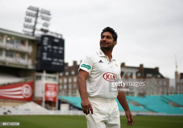 Kumar Sangakkara of Surrey looks on during the Surrey CCC Photocall at The Kia Oval on April 4 2017 in London England