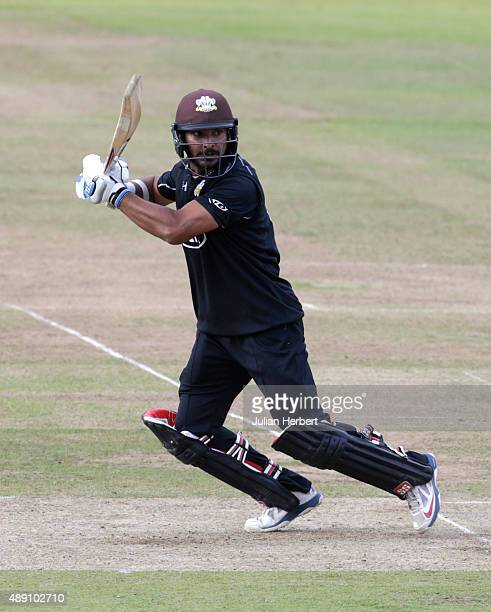 Kumar Sangakkara of Surrey scores runs during the Royal London OneDay Cup Final between Surrey and Gloustershire at Lord's Cricket Ground on...