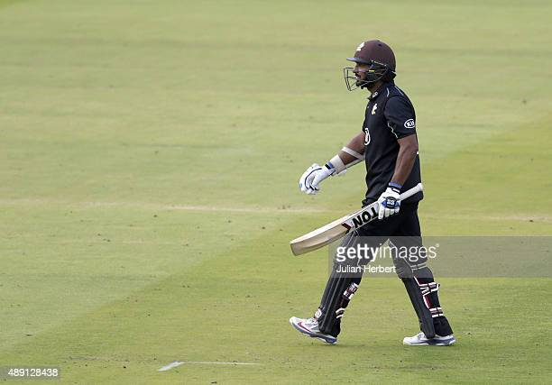 Kumar Sangakkara of Surrey walks off after his dismissal during the Royal London OneDay Cup Final between Surrey and Gloustershire at Lord's Cricket...