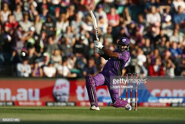 Kumar Sangakkara of the Hurricanes bats during the Big Bash League match between the Hobart Hurricanes and Sydney Stars at Blundstone Arena on...