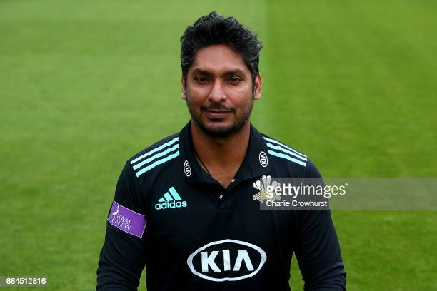 Kumar Sangakkara poses in the Royal London OneDay Cup kit during the Surrey CCC Photocall at The Kia Oval on April 4 2017 in London England
