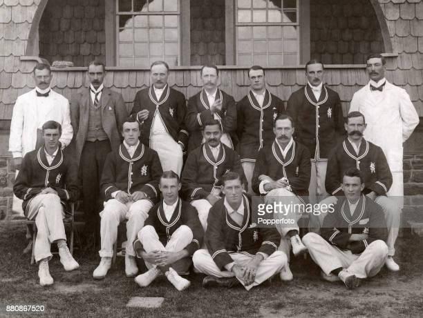 Kumar Shri Ranjitsinhji's cricket team prior to their tour of the USA and Canada circa 1899 Left to right umpire V Barton Charles Robson Arthur...