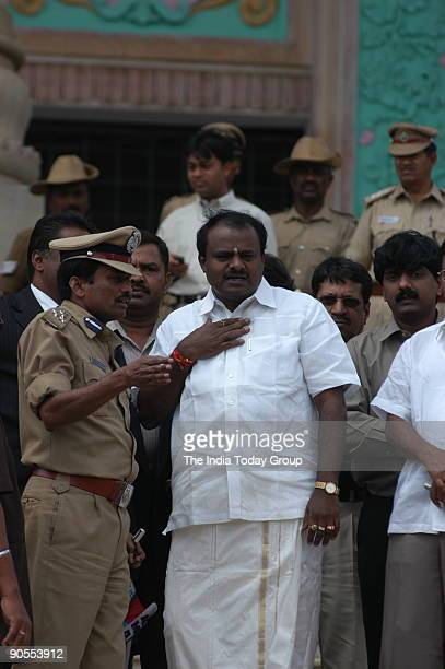 Kumaraswamy son of former prime minister HD Devegowda and Janata Dal The New BJPJD coalition Government after swearingin ceremony at Vidhana Soudha...