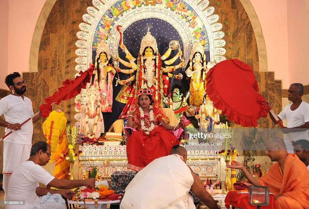 Kumari Kanya Puja performed at Ramkrishana Math to celebrate Maha Ashtami during the Durga Puja celebrations on October 9 2016 in Lucknow India Durga...