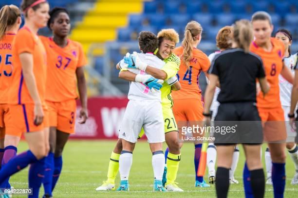 Kumi Yokoyama and Goalkeeper Ayake Yamashita celebrate after winning the Women's International Friendly match between Netherlands and Japan at Rat...