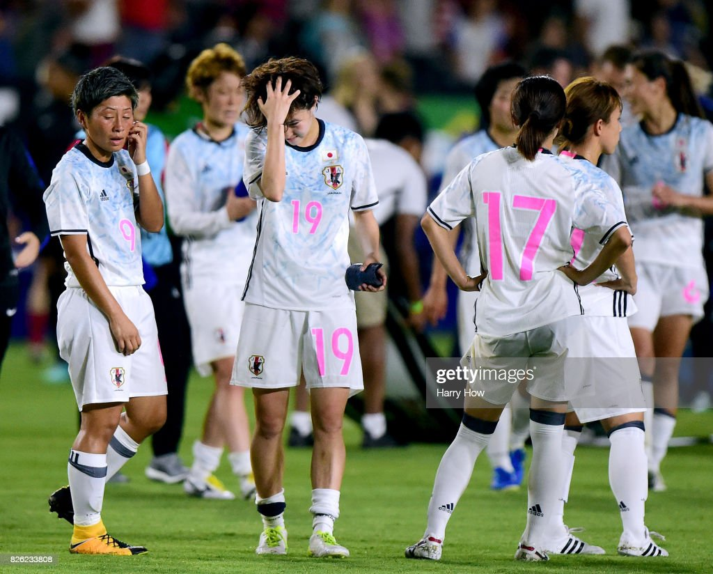 Kumi Yokoyama #9 and Hikaru Kitagawa #19 of Japan react after a 3-0 loss to the United Stated during the 2017 Tournament Of Nations at StubHub Center on August 3, 2017 in Carson, California.